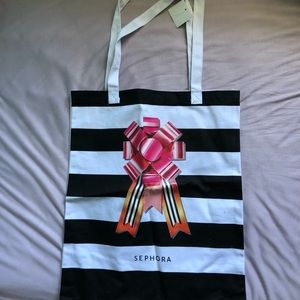 Sephora holiday gift tote reusable bag striped NWT